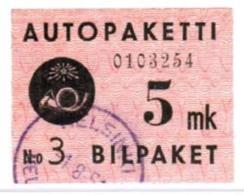 1949 Finland 5 Mk Bus Parcel Stamp Used.