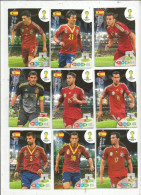 G-I-E , Trading Cards , Carte PANINI , Football , FIFA WORLD CUP , BRASIL , Brésil 2014 , ESPANA , LOT DE 9 CARTES - Trading Cards