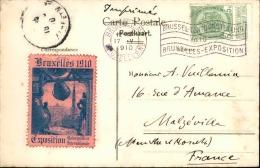BELGIQUE - Vignette De L ' Exposition De Bruxelles 1910  Sur Carte Postale - A Voir - L  3700 - Commemorative Labels