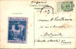 BELGIQUE - Vignette De L ´ Exposition De Bruxelles 1910  Sur Carte Postale - A Voir - L  3701 - Commemorative Labels