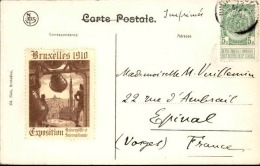 BELGIQUE - Vignette De L ´ Exposition De Bruxelles 1910  Sur Carte Postale - A Voir - L  3702 - Commemorative Labels