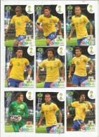 G-I-E , Trading Cards , Carte PANINI , Football , FIFA WORLD CUP , BRASIL , Brésil 2014 , BRASIL , LOT DE 9 CARTES - Trading Cards
