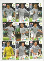 G-I-E , Trading Cards , Carte PANINI , Football , FIFA WORLD CUP , BRASIL , Brésil 2014 , ENGLAND , LOT DE 9 CARTES - Trading Cards