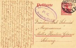 EP 10 Pfg Obl Straßburg Du 24.2.18 Avec Censure Ovale Adressé à Mollis - Marcofilia (sobres)