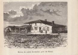 1896 - Gravure Sur Bois - Pibrac (Haute-Garonne) - La Maison De Sainte-Germaine Aux Environs - FRANCO DE PORT - Stiche & Gravuren