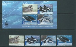 Australia 2009 Dolphins WWF Set 4 + Miniature Sheet MNH - Mint Stamps