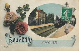 95 ECOUEN Souvenir D'écouen Gare Train     2 Scans - Ecouen