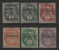 ANDORRE Français:  N°1/6 *      - Cote 10,50€ -