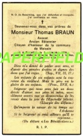 Pieux Souvenir Thomas BRAUN - BRUXELLES 1876 - IXELLES 1961-Avocat, Ancien Bâtonnier,citoyen D'honneur De MAISSIN - Images Religieuses