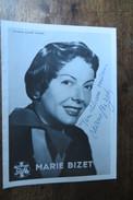 IMPRIME MARIE BIZET   DEDICACE - Autografi