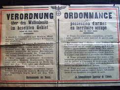 AFFICHE #1 ORDONNANCE ARMES TERRITOIRE OCCUPE MAI 1940 OBERKOMMANDO HEERES