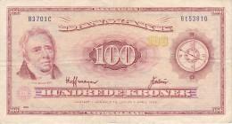 BILLETE DE DINAMARCA DE 100 KRONER DEL AÑO 1970  (BANK NOTE) RARO - Dinamarca