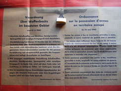 AFFICHE #14 ORDONNANCE POSSESSION ARME TERRITOIRES OCCUPES 1940