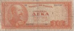 BILLETE DE GRECIA DE 10 DRACMAS DEL AÑO 1954 (BANK NOTE) - Grecia