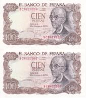 PAREJA CORRELATIVA DE 100 PTAS DEL AÑO 1970 SERIE 9C (SERIE SUSTITUCION) (SIN CIRCULAR-UNCIRCULATED)(BANK NOTE) - 100 Pesetas
