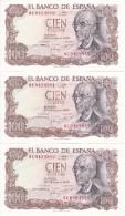 TRIO CORRELATIVO DE 100 PTAS DEL AÑO 1970 SERIE 9C (SERIE SUSTITUCION) (SIN CIRCULAR-UNCIRCULATED)(BANK NOTE) - 100 Pesetas