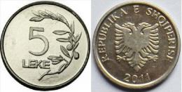 Albania Coin 5 Leke, 2011. BU, UNC Or FDC - Albania