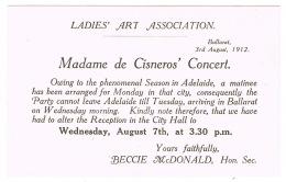 RB 1118 - 1912 Madame De Cisnero's Concert - Ballarat Victoria Australia - Ladies Art Association Announcement Ephemera - Announcements