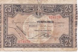 BILLETE DE ESPAÑA DE 25 PTAS DEL BANCO DE ESPAÑA-BILBAO DEL AÑO 1937 (BANCO DE COMERCIO) - 25 Pesetas