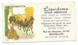 PETIT CALENDRIER PUB PUBLICITAIRE 1968, LIQUIDOMA, STOCK AMERICAIN, TOUT POUR LE CAMPING, RUE DES BOGARDS, BRUXELLES - Publicités