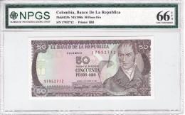 COLOMBIA 50 PESOS 1986 P-425b NPGS GEM UNC 66 EPQ  [ CO425b ] - Colombia