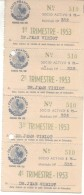 CLUB FRANCAIS BUENOS AIRES L'ARGENTINA 4 RECEIPTS YEAR 1953 AVEC FISCAUX TIMBRES TBE - Frankrijk