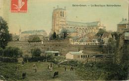 Dép 62 - St Omer - Saint Omer - La Basilique Notre Dame - Carte Toilée Couleurs - état - Saint Omer