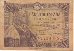BILLETE DE ESPAÑA DE 1 PTA DEL 15/06/1945 ISABEL LA CATÓLICA SERIE A (BANK NOTE) (agujeros) - [ 3] 1936-1975 : Régence De Franco
