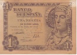 BILLETE DE 1 PTA DEL AÑO 1948 SERIE E - DAMA DE ELCHE  (BANKNOTE) (agujeros) - [ 3] 1936-1975 : Régimen De Franco