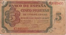 BILLETE DE ESPAÑA DE 5 PTAS DE BURGOS DEL AÑO 1938  (BANKNOTE) (agujeros) - [ 3] 1936-1975 : Régimen De Franco