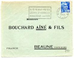 PAS De CALAIS - Dépt N° 62 = BOULOGNE Sur MER 1954 = FLAMME Thème NAPOLEON = SECAP  ´ FETES LEGION D´ HONNEUR´ - Marcofilie (Brieven)