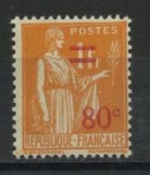 FRANCE -  80c/1f ORANGE TYPE PAIX - N° Yvert 359** - 1932-39 Paix