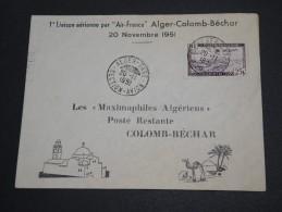 FRANCE / ALGÉRIE - Enveloppe 1 ère Liaison Alger / Colomb - Béchar En 1951- A Voir - L  3896 - Algeria (1924-1962)