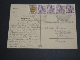 SARRE - Carte Postale Pour La France En 1948 , Affranchissement Plaisant - A Voir - L  3901 - Cartas
