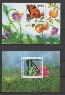 Bhutan 1996 Butterflies 2 S/s MNH - Farfalle