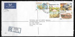 1982 Bahamas Registered Bank Cover, Freeport 22 Feb, Four Stamps - Bahamas (1973-...)