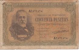 BILLETE DE ESPAÑA DE 50 PTAS DEL 9/01/1940 SERIE A CALIDAD  RC (BANKNOTE) (agujeros) - [ 3] 1936-1975 : Régimen De Franco