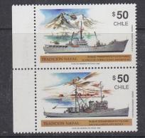 Chile 1990 Traditional Ships / Antarctica 2v Se Tenant ** Mnh (32611B) - Chili