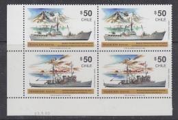 Chile 1990 Traditional Ships / Antarctica 2x2v Se Tenant  (corner) ** Mnh (32611D) - Chili