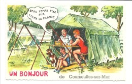 """CP Fantaisie """"Un Bonjour De Courseulles-sur-Mer""""(14)   Camping,transistor, Pluie ,ILL.Chap - Courseulles-sur-Mer"""