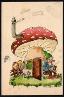 6921 - Alte Glückwunschkarte - Geburtstag - Fliegenpilz Zwerg - Andrea ??? - 1948 - Anniversaire