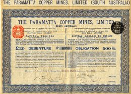 AUSTRALIE / THE PARAMATTA COPPER MINES LIMITED 1904 ( South Australia ) - Mines