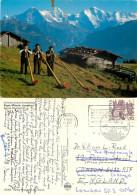 Alpenhorn, Eiger Monch Jungfrau, BE Bern, Switzerland Postcard Posted 1984 Stamp - BE Berne