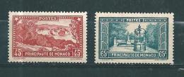 Monaco  Timbres De 1933/37  N°124 Et 125  Neuf * Petite  Charnière - Unused Stamps