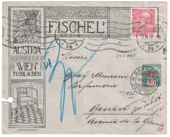 Autriche Austria - 1912 TIMBRE PERFORE Sur LETTRE ILLUSTREE FISCHEL WIEN TUCHLAUBEN Pour La SUISSE Et TAXEE - Covers & Documents