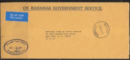 1977 On Bahamas Government Service To NY Bank, Nassau, 10 Dec - Bahamas (1973-...)