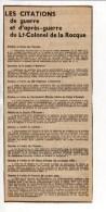 """Militaria - Coupure Journal """"Les Citations De Guerre Et D'après Guerre Du Lt Colonel De La Rocque"""" - Documents"""