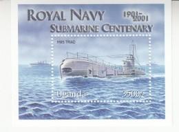 2001 Uganda Royal Navy Submarines Complete Set Of 6 & Souvenir Sheet  MNH
