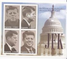 2002 Uganda  John F. Kennedy  USA Miniature Sheet Of 4  MNH