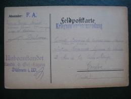 Courrier Prisonnier De Guerre 14-18 En Franchise Camp De Dulmen Allemagne , Lager Dulmen Deutschland - Guerre De 1914-18